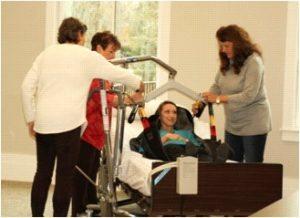 Kathy, Pat, Kristen, Cinda with hoyer lift